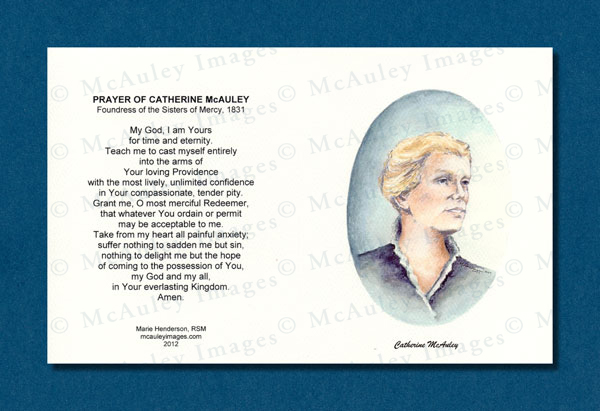 Note Card With Portrait Of Catherine Mcauley And Prayer